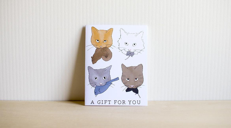 ネコのプレゼントポストカード