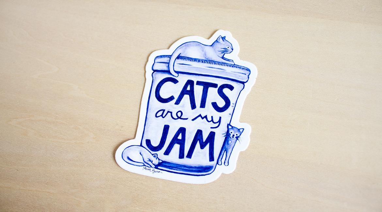 Cats are my Jam Sticker