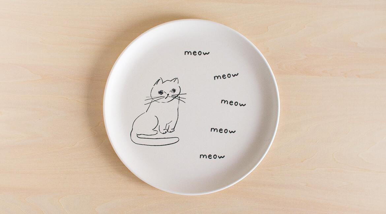 ネコのプレート(丸型)