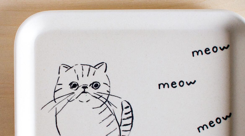 ネコのプレート(角型)